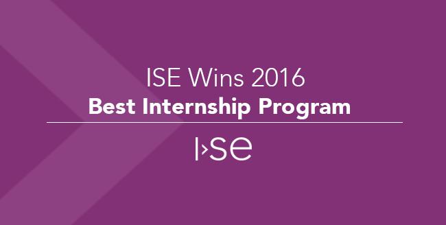 ISE Wins 2016 Best Internship Program!